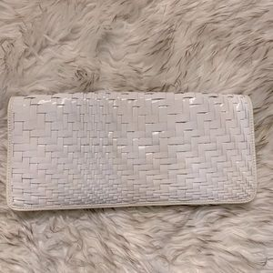 NWT Cole Haan Patent Leather Woven Leather Clutch